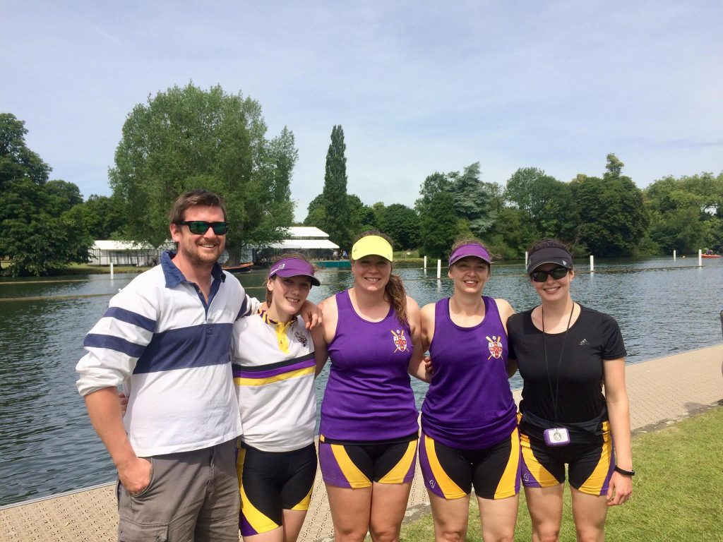 Aspirational 4x- at Henley Women's Regatta 2018. Dan Lewis (coach), Louise Hawkyard, Sophy Nicholson, Helen Sneath, Helen Waller. Photo: H Waller.